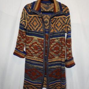 Spense Knits Aztec Design Open Front Cardigan Sz L
